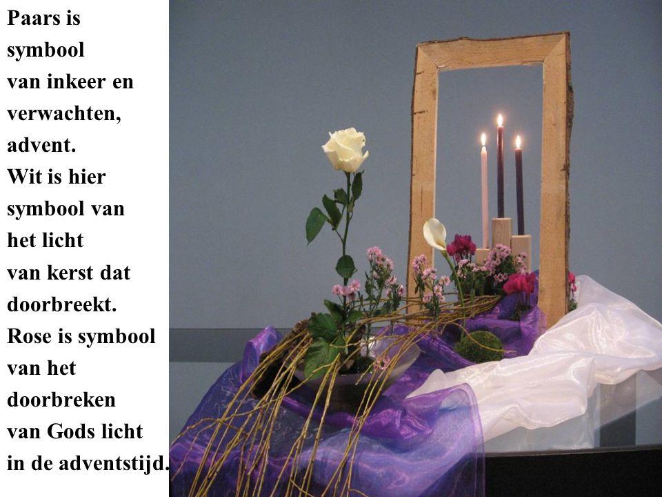 Paars is symbool van inkeer en verwachten, advent. Wit is hier symbool van het licht van kerst dat doorbreekt. Rose is symbool van het doorbreken van
