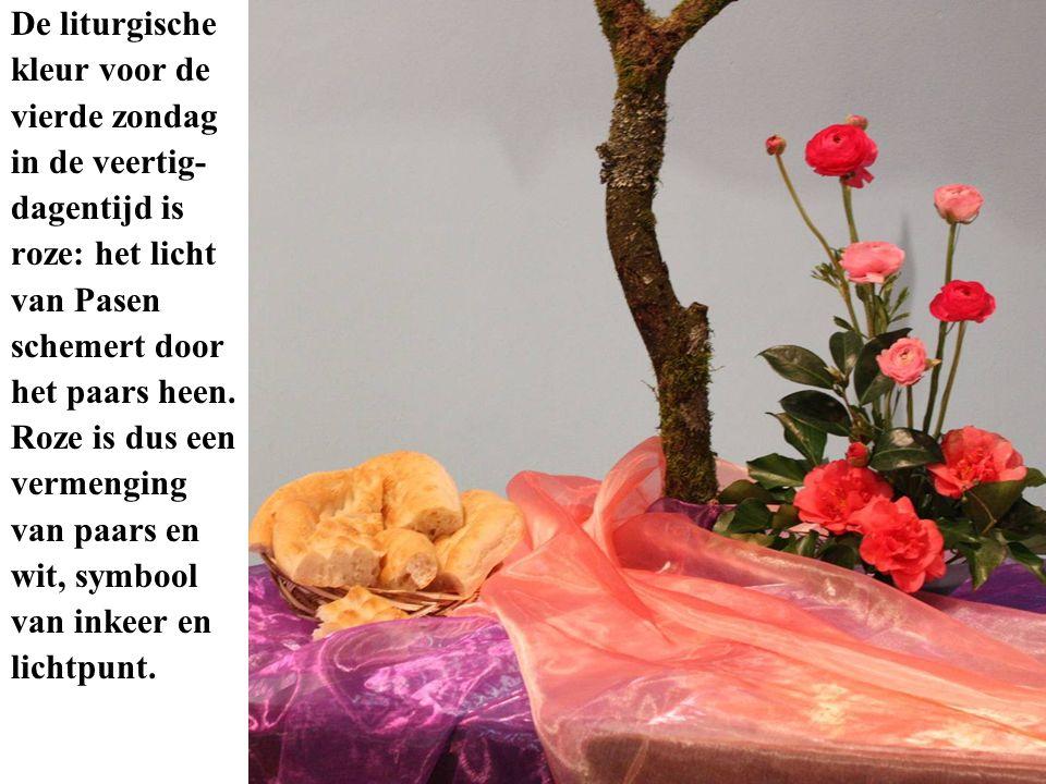 De liturgische kleur voor de vierde zondag in de veertig- dagentijd is roze: het licht van Pasen schemert door het paars heen. Roze is dus een vermeng