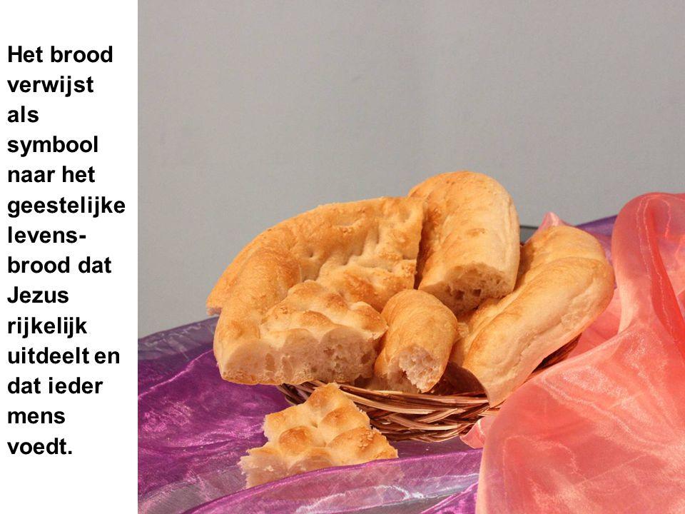 Het brood verwijst als symbool naar het geestelijke levens- brood dat Jezus rijkelijk uitdeelt en dat ieder mens voedt.