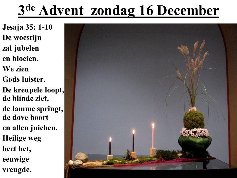 3 de Advent zondag 16 December Jesaja 35: 1-10 De woestijn zal jubelen en bloeien. We zien Gods luister. De kreupele loopt, de blinde ziet, de lamme s