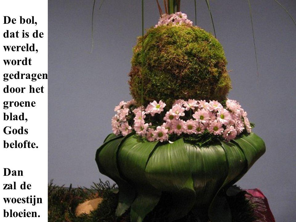 De bol, dat is de wereld, wordt gedragen door het groene blad, Gods belofte. Dan zal de woestijn bloeien.