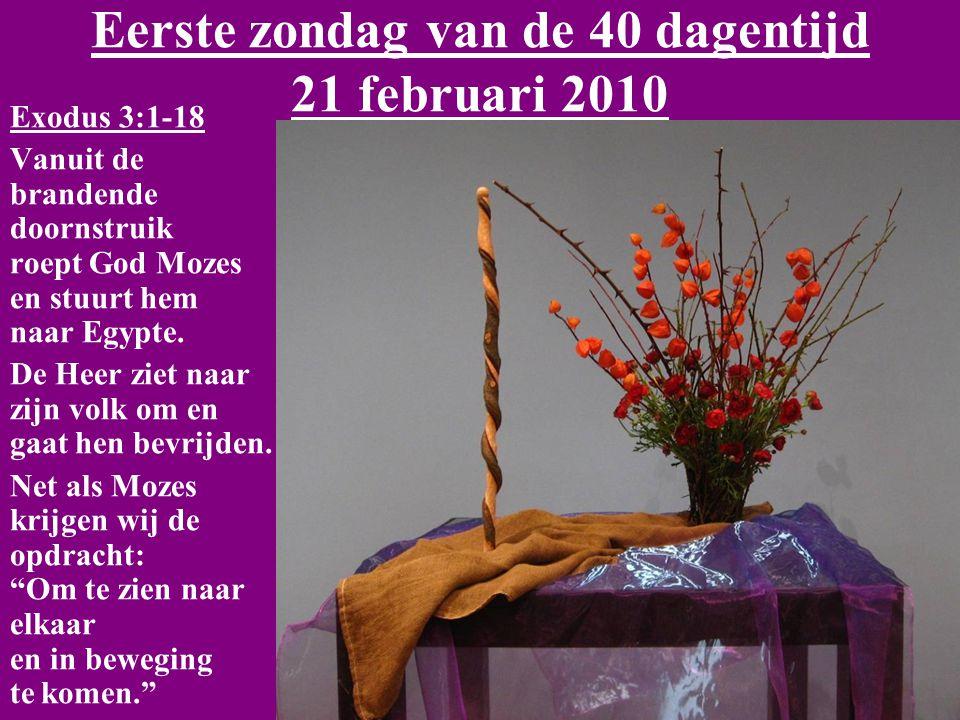 Eerste zondag van de 40 dagentijd 21 februari 2010 Exodus 3:1-18 Vanuit de brandende doornstruik roept God Mozes en stuurt hem naar Egypte.