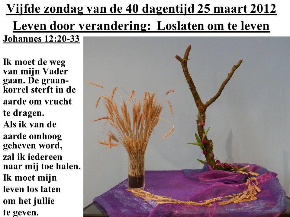 Vijfde zondag van de 40 dagentijd 25 maart 2012 Leven door verandering: Loslaten om te leven Johannes 12:20-33 Ik moet de weg van mijn Vader gaan. De