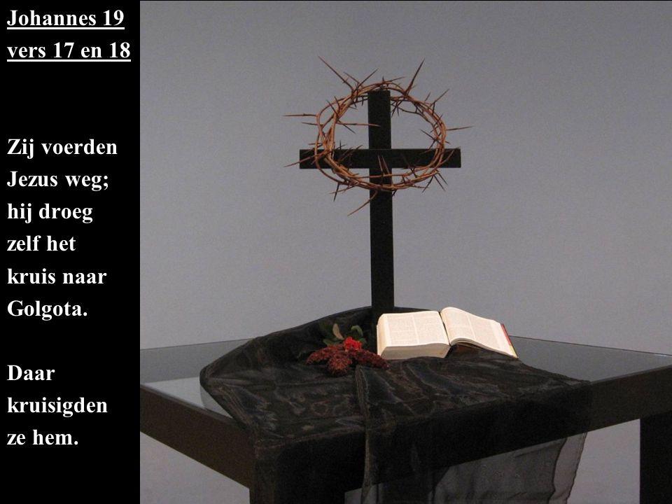 Johannes 19 vers 17 en 18 Zij voerden Jezus weg; hij droeg zelf het kruis naar Golgota.