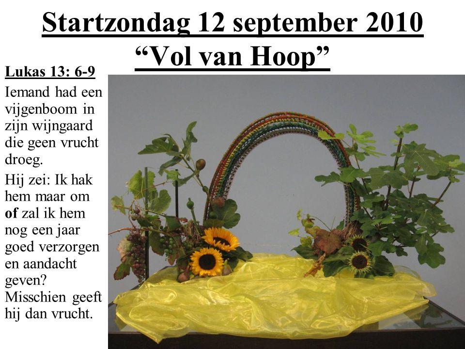"""Startzondag 12 september 2010 """"Vol van Hoop"""" Lukas 13: 6-9 Iemand had een vijgenboom in zijn wijngaard die geen vrucht droeg. Hij zei: Ik hak hem maar"""
