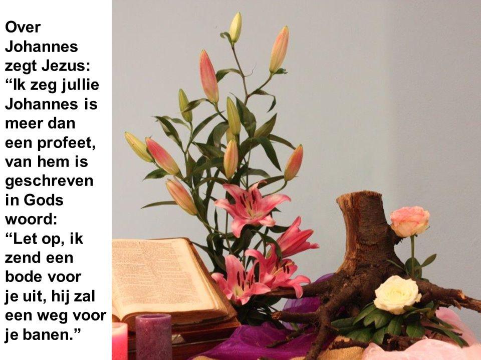 """Over Johannes zegt Jezus: """"Ik zeg jullie Johannes is meer dan een profeet, van hem is geschreven in Gods woord: """"Let op, ik zend een bode voor je uit,"""