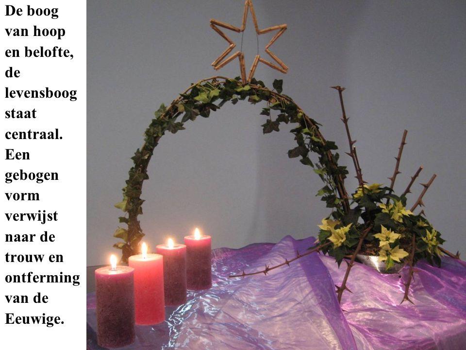 De boog van hoop en belofte, de levensboog staat centraal. Een gebogen vorm verwijst naar de trouw en ontferming van de Eeuwige.