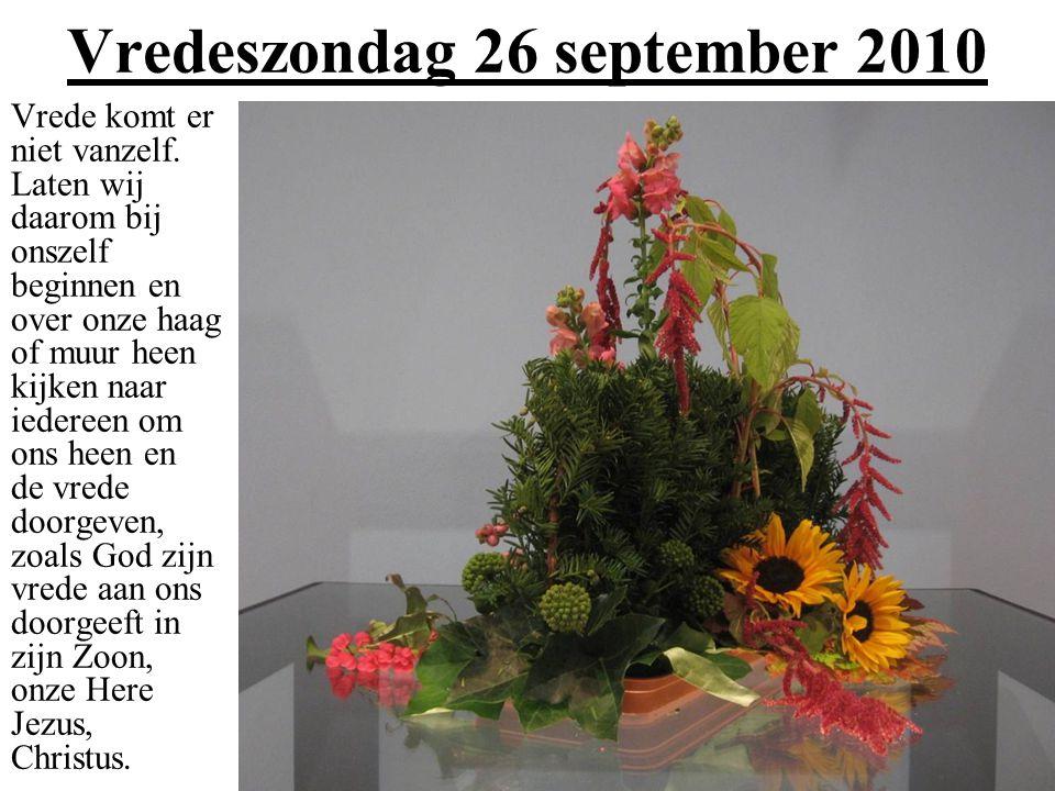 Vredeszondag 26 september 2010 Vrede komt er niet vanzelf.