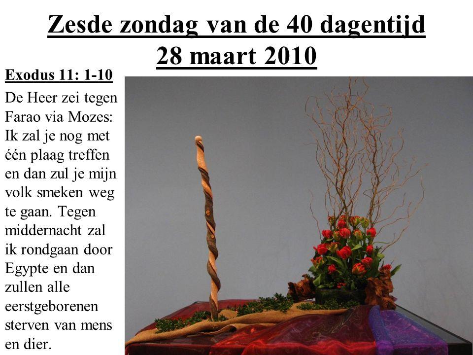 Zesde zondag van de 40 dagentijd 28 maart 2010 Exodus 11: 1-10 De Heer zei tegen Farao via Mozes: Ik zal je nog met één plaag treffen en dan zul je mi