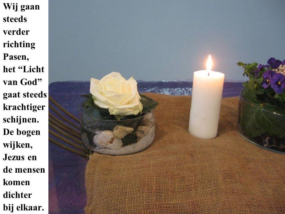 De vrouw uit Sichem wordt hier uitgebeeld met een Strelitzia (apart, excotisch), de blauwe violen zijn het symbool van het water van de Jacobsbron, het gras is het symbool van het levende water en de hedera is de reikende hand en de trouw van Jezus voor allen, niemand uitgezonderd!