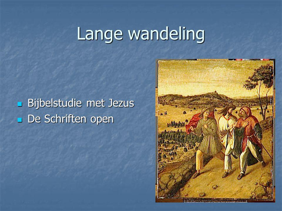Lange wandeling Bijbelstudie met Jezus Bijbelstudie met Jezus De Schriften open De Schriften open