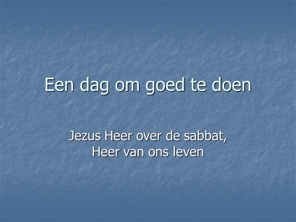 Een dag om goed te doen Jezus Heer over de sabbat, Heer van ons leven