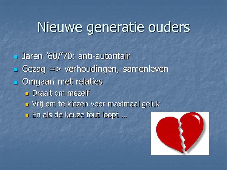 Nieuwe generatie ouders Jaren '60/'70: anti-autoritair Jaren '60/'70: anti-autoritair Gezag => verhoudingen, samenleven Gezag => verhoudingen, samenle