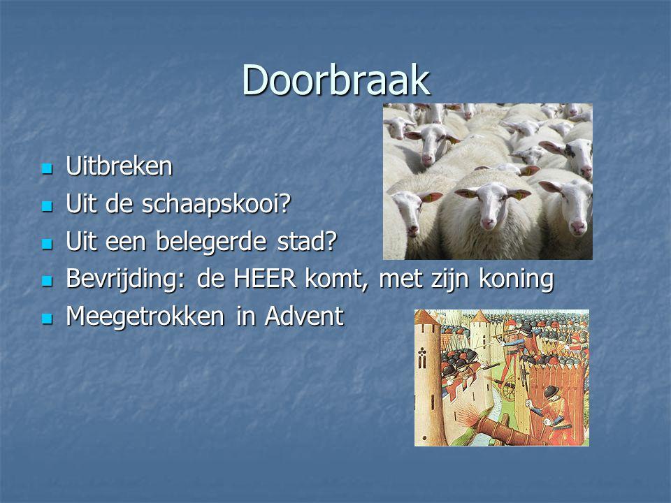Doorbraak Uitbreken Uitbreken Uit de schaapskooi. Uit de schaapskooi.
