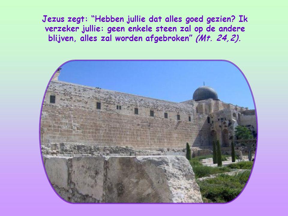 Jezus is net uit de tempel gekomen. Vol trots wijzen zijn leerlingen Hem op de pracht van dat gebouw.