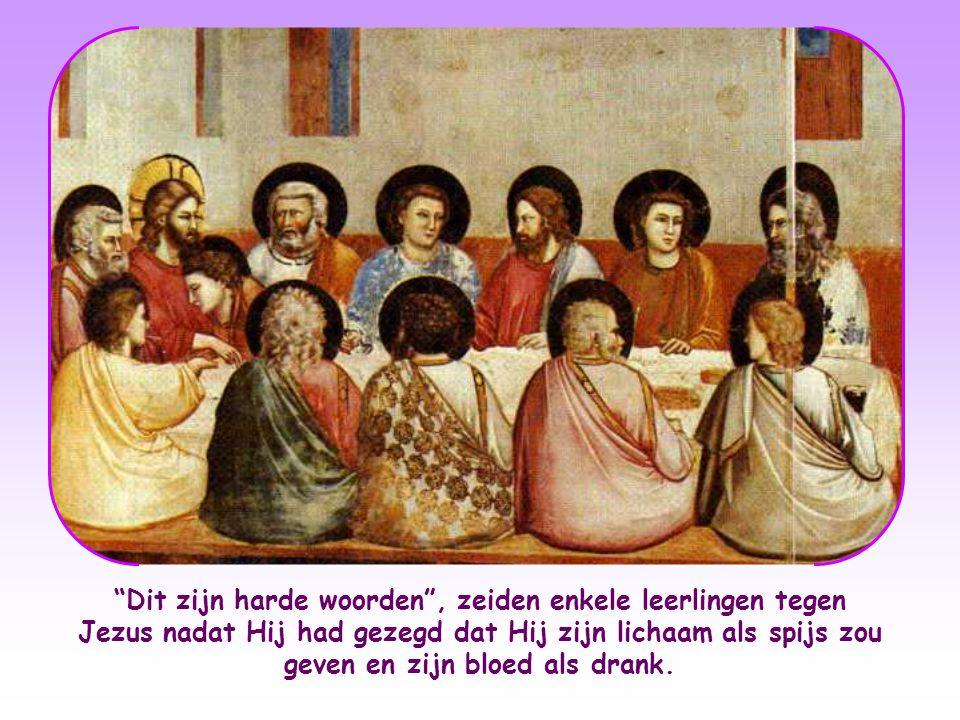 Dit zijn harde woorden , zeiden enkele leerlingen tegen Jezus nadat Hij had gezegd dat Hij zijn lichaam als spijs zou geven en zijn bloed als drank.
