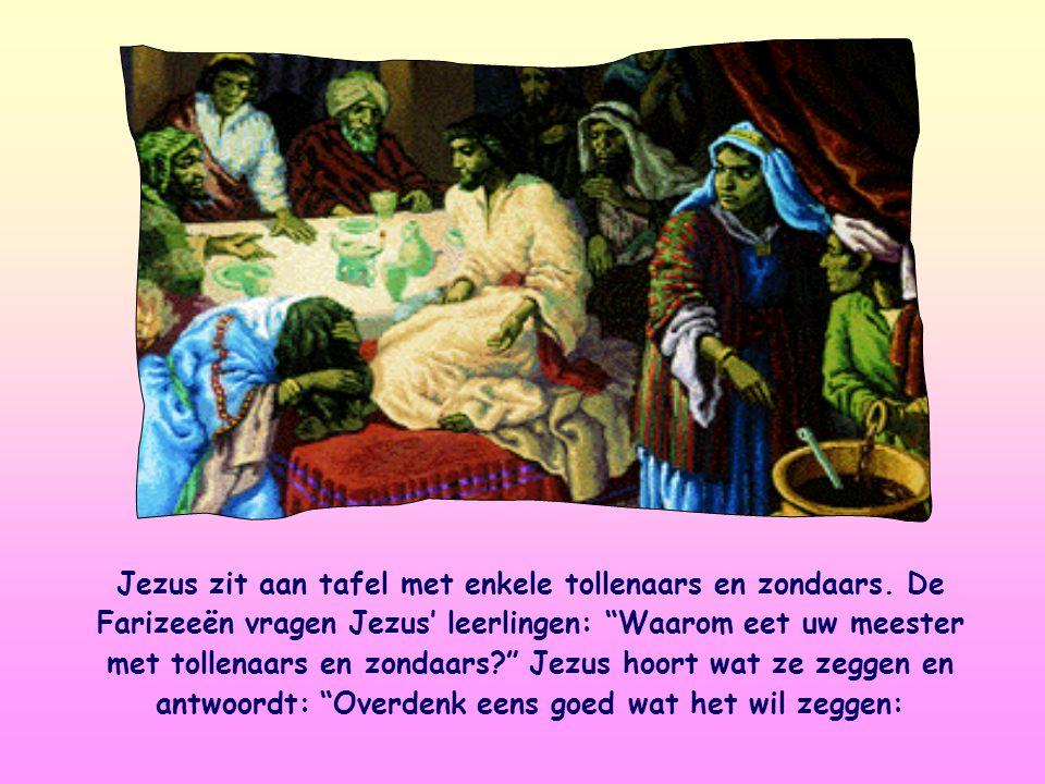 Jezus zit aan tafel met enkele tollenaars en zondaars.