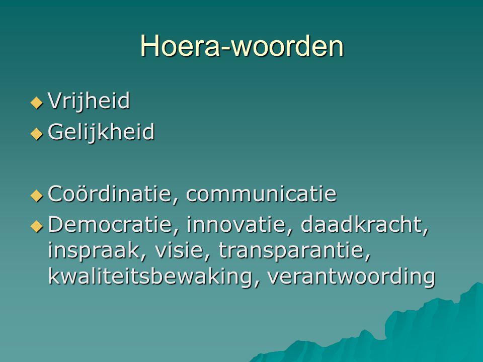 Hoera-woorden  Vrijheid  Gelijkheid  Coördinatie, communicatie  Democratie, innovatie, daadkracht, inspraak, visie, transparantie, kwaliteitsbewak