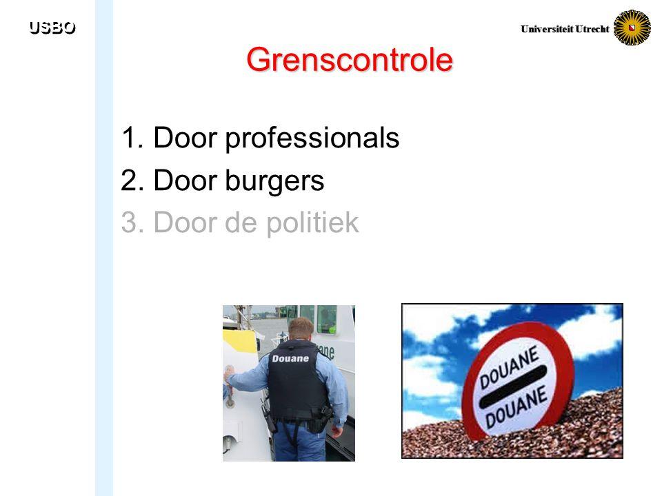 USBO Universiteit Utrecht Grenscontrole 1. Door professionals 2. Door burgers 3. Door de politiek