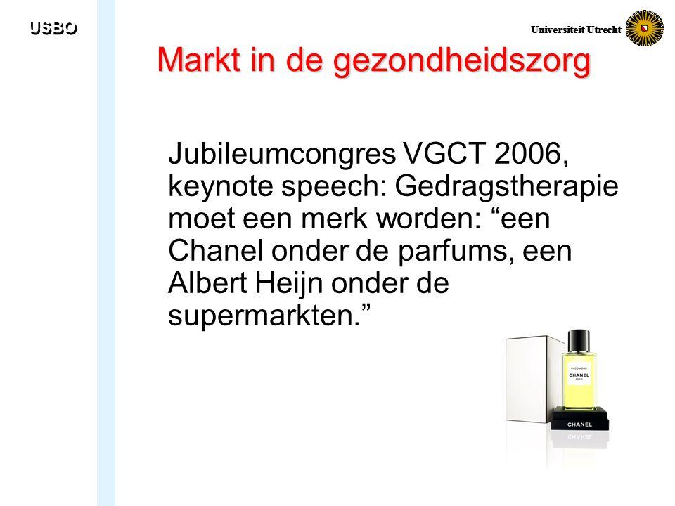"""USBO Universiteit Utrecht Markt in de gezondheidszorg Jubileumcongres VGCT 2006, keynote speech: Gedragstherapie moet een merk worden: """"een Chanel ond"""
