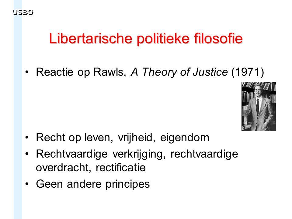 Libertarische politieke filosofie Reactie op Rawls, A Theory of Justice (1971) Recht op leven, vrijheid, eigendom Rechtvaardige verkrijging, rechtvaar