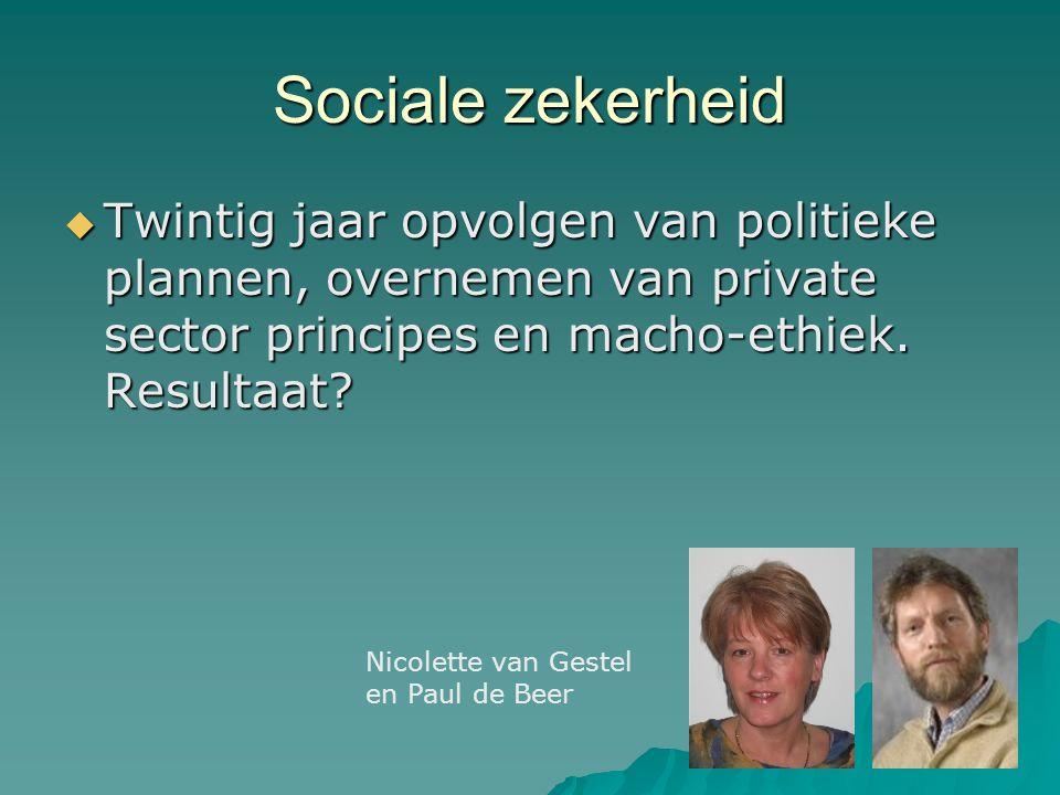 Sociale zekerheid  Twintig jaar opvolgen van politieke plannen, overnemen van private sector principes en macho-ethiek. Resultaat? Nicolette van Gest