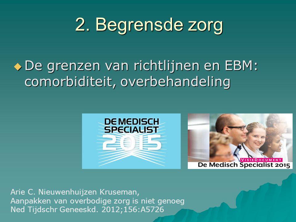 2. Begrensde zorg  De grenzen van richtlijnen en EBM: comorbiditeit, overbehandeling Arie C. Nieuwenhuijzen Kruseman, Aanpakken van overbodige zorg i