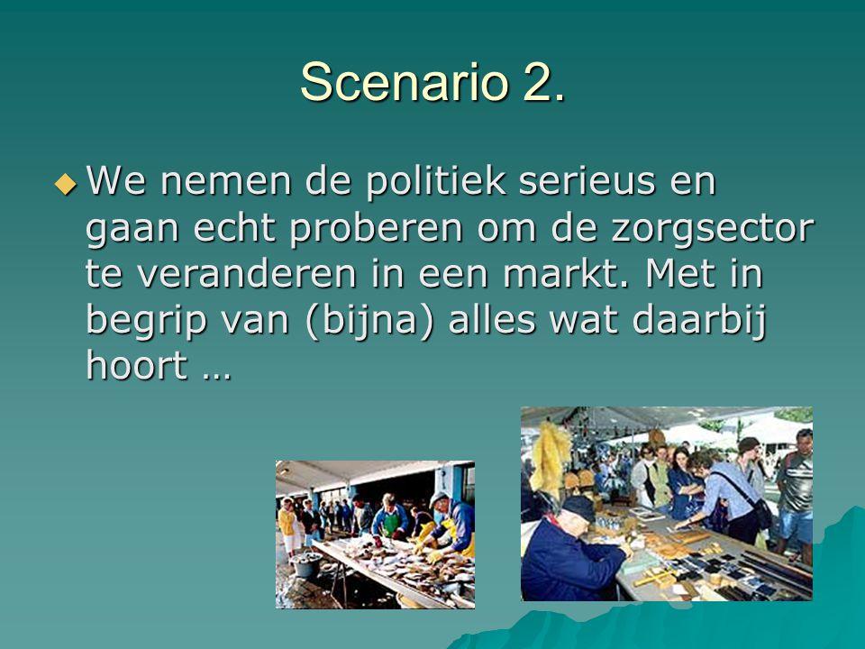 Scenario 2.  We nemen de politiek serieus en gaan echt proberen om de zorgsector te veranderen in een markt. Met in begrip van (bijna) alles wat daar