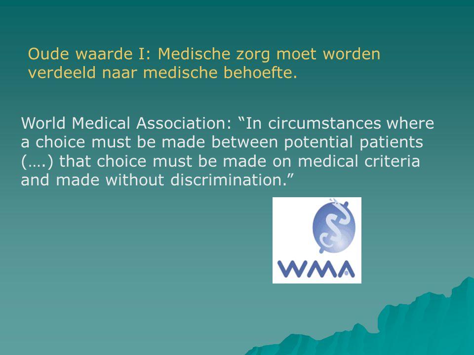 """Oude waarde I: Medische zorg moet worden verdeeld naar medische behoefte. World Medical Association: """"In circumstances where a choice must be made bet"""