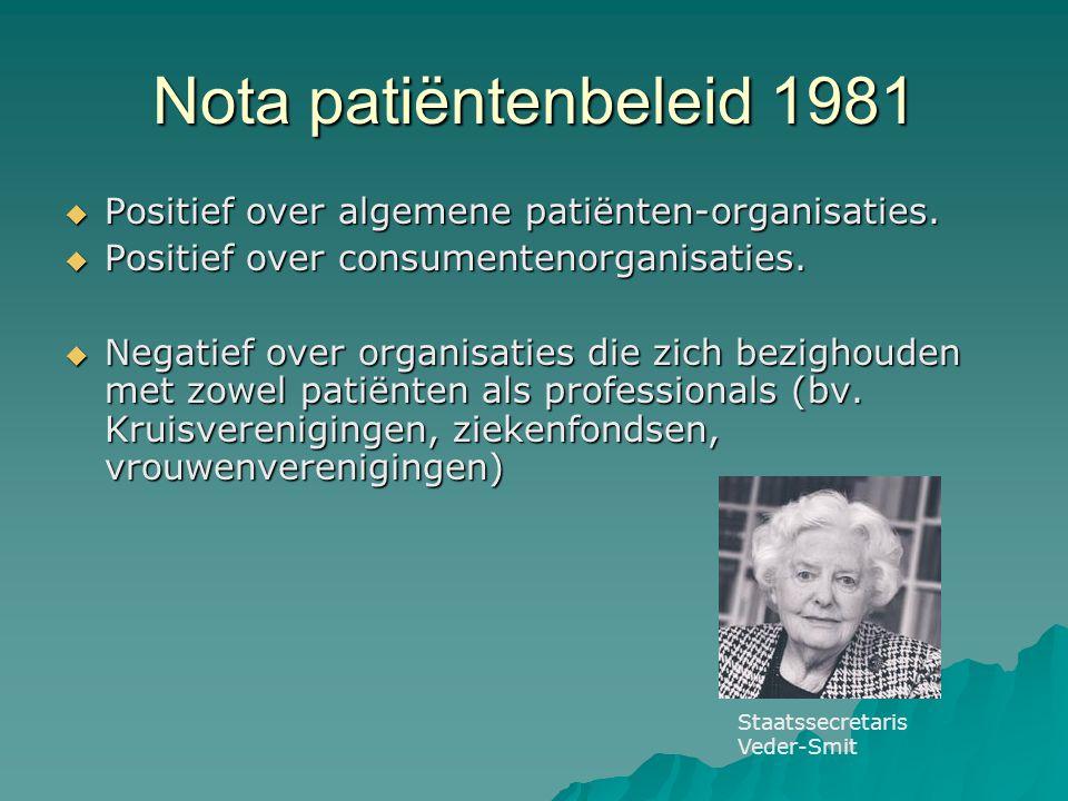 Nota patiëntenbeleid 1981  Positief over algemene patiënten-organisaties.