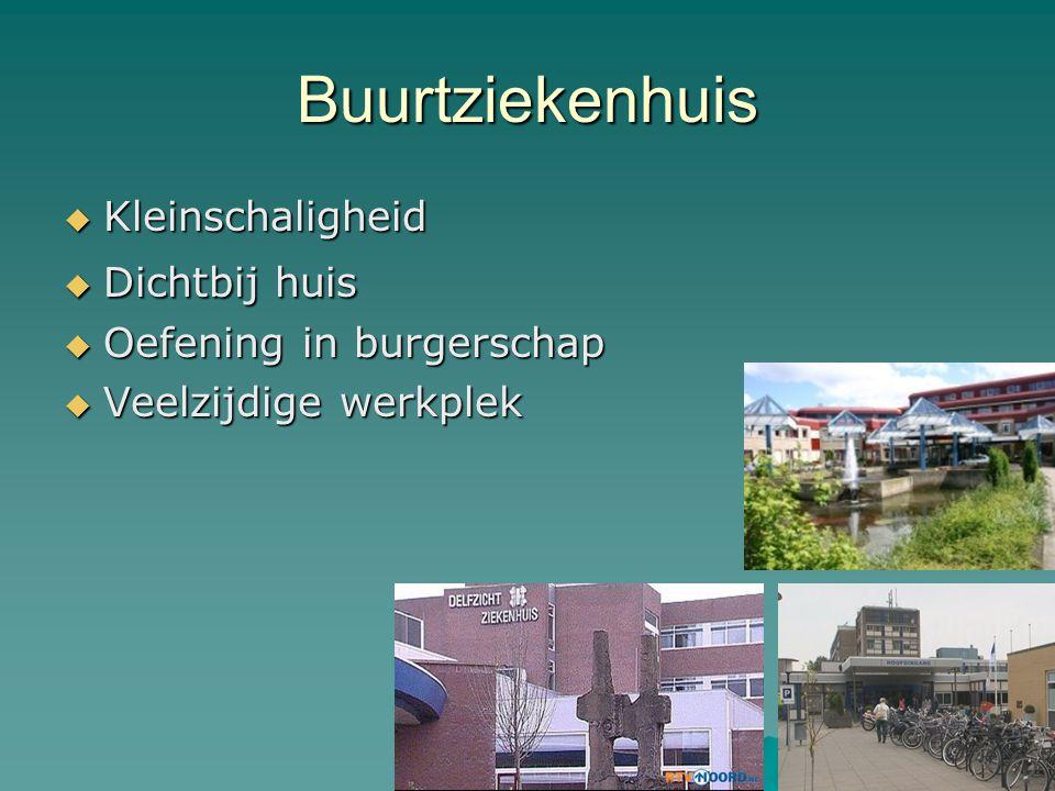Buurtziekenhuis  Kleinschaligheid  Dichtbij huis  Oefening in burgerschap  Veelzijdige werkplek