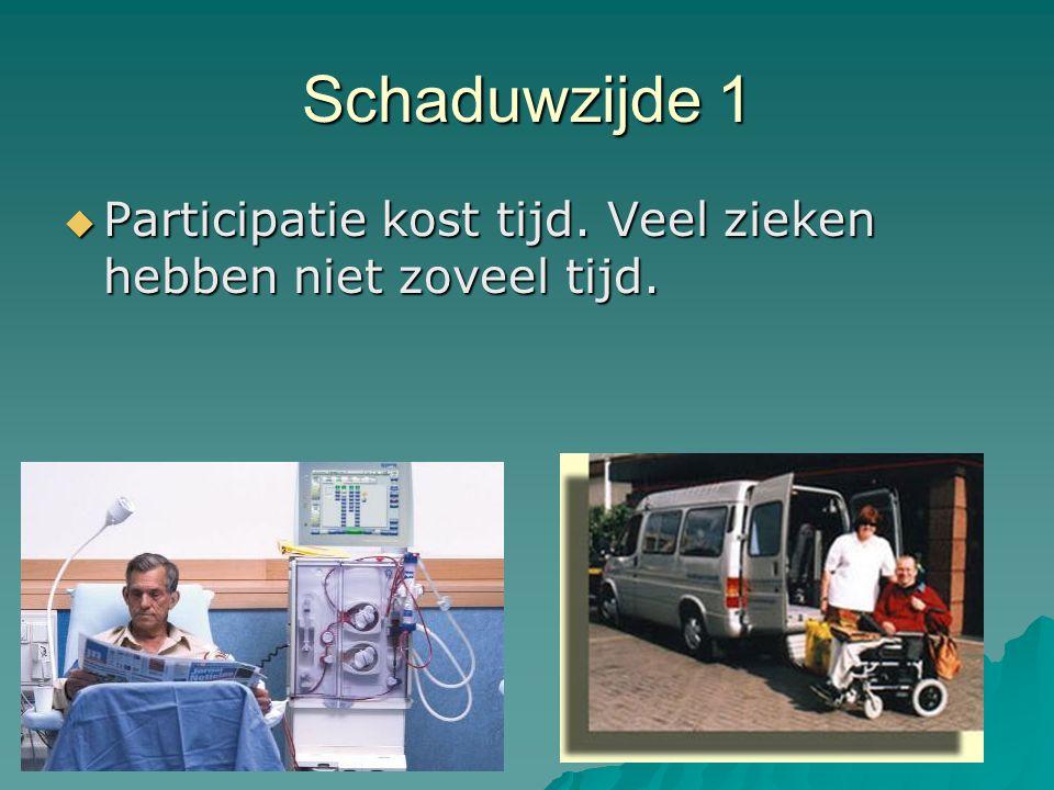 Schaduwzijde 1  Participatie kost tijd. Veel zieken hebben niet zoveel tijd.