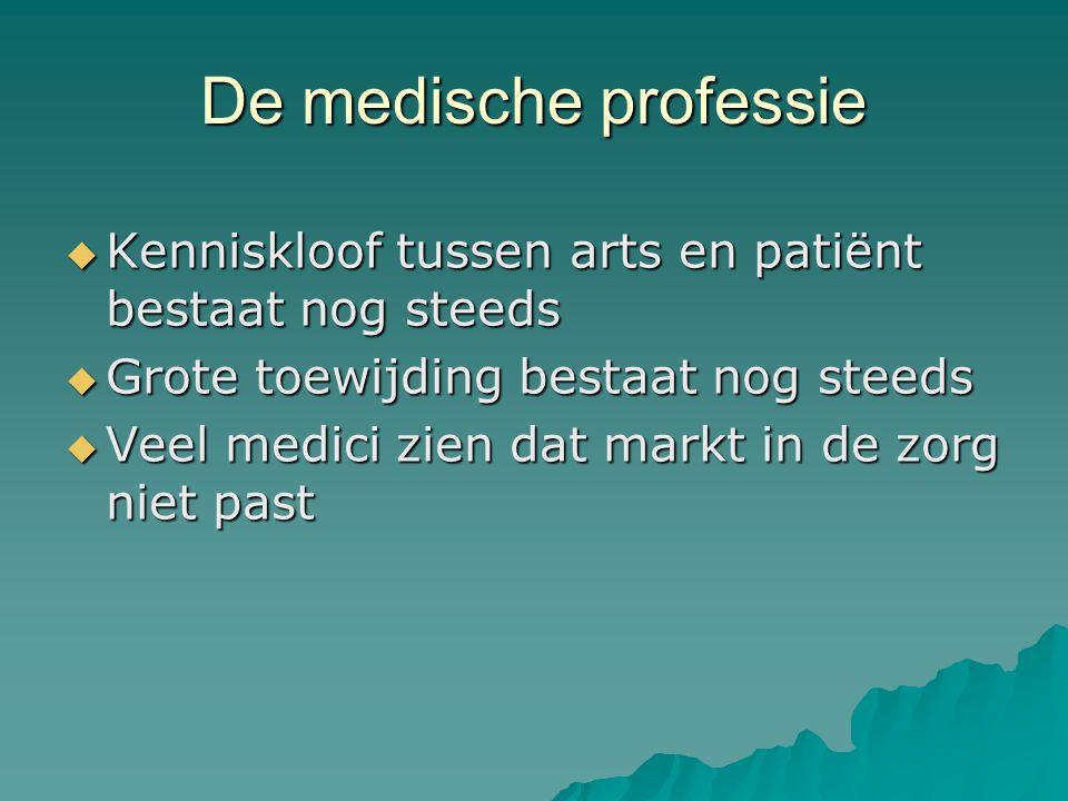 De medische professie  Kenniskloof tussen arts en patiënt bestaat nog steeds  Grote toewijding bestaat nog steeds  Veel medici zien dat markt in de