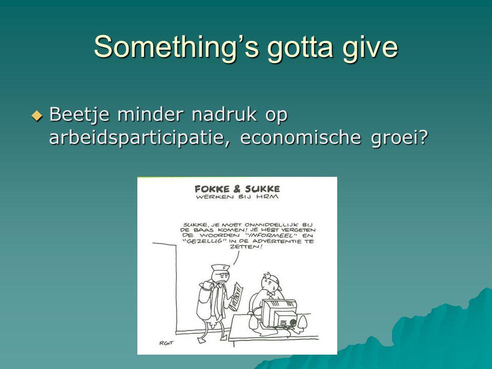 Something's gotta give  Beetje minder nadruk op arbeidsparticipatie, economische groei?