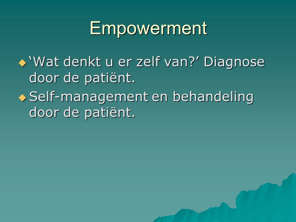 Empowerment  'Wat denkt u er zelf van ' Diagnose door de patiënt.