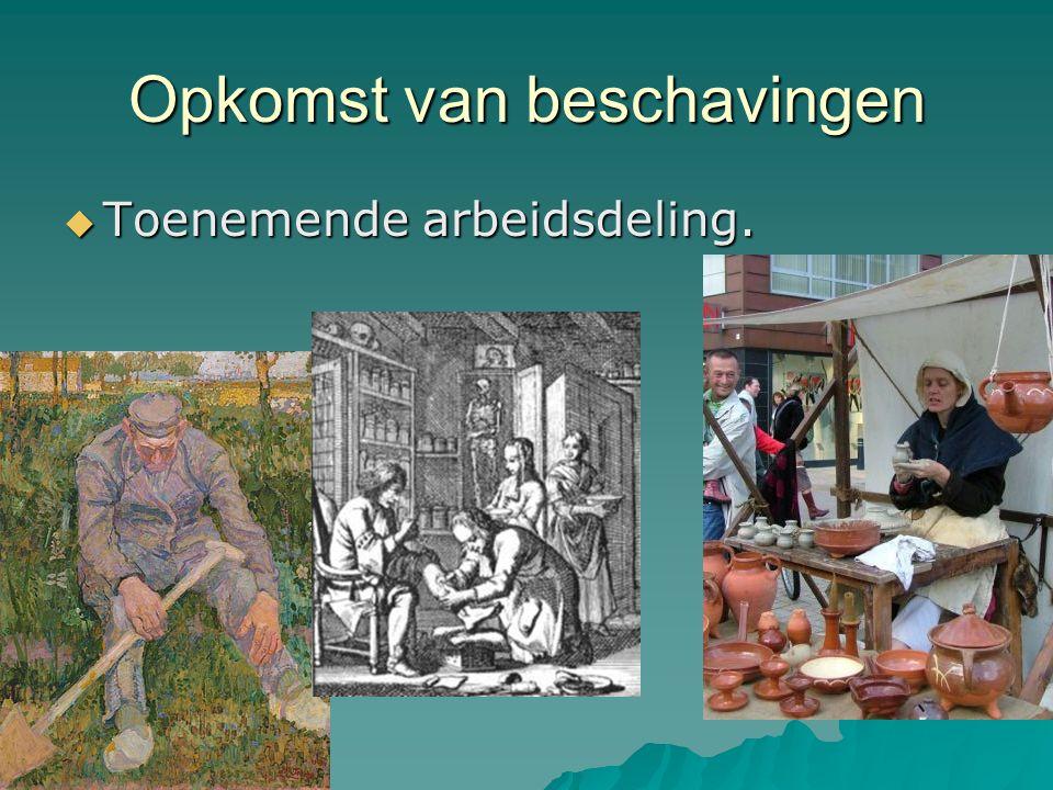 Toenemende arbeidsdeling  Boer, smid, pottenbakker, koopman, onderwijzer, chirurgijn …