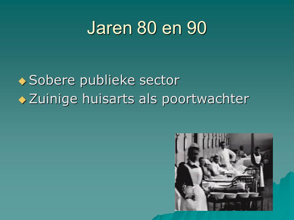 Jaren 80 en 90  Sobere publieke sector  Zuinige huisarts als poortwachter