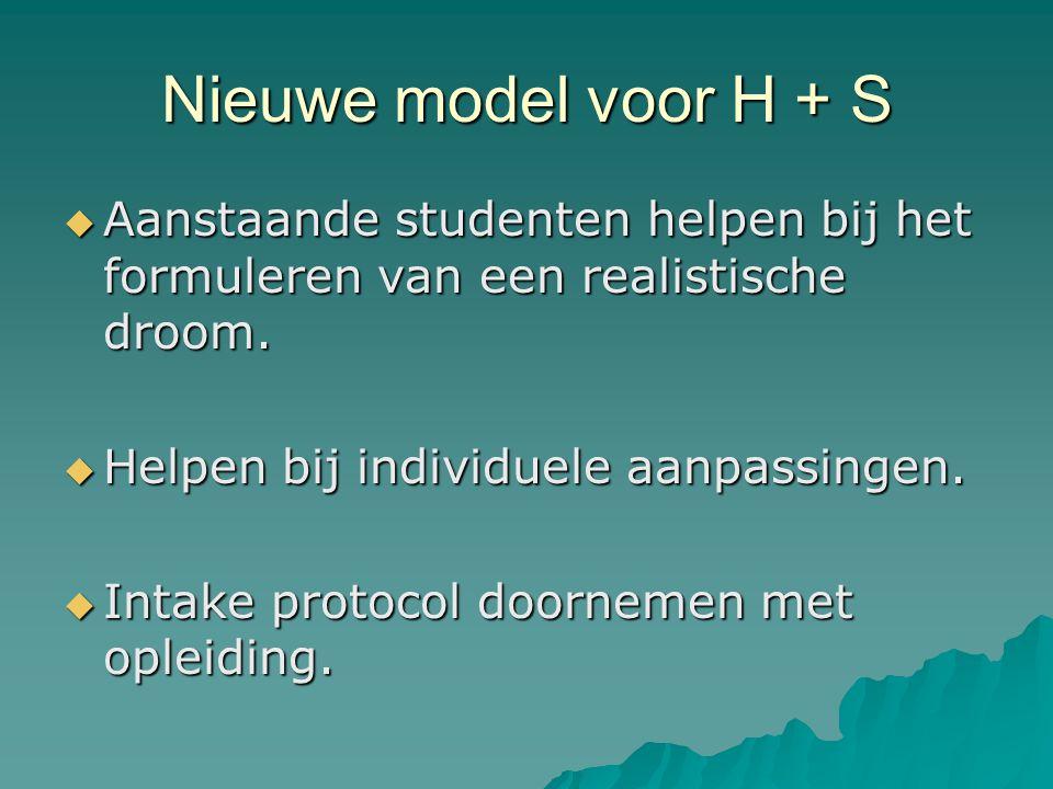 Nieuwe model voor H + S  Aanstaande studenten helpen bij het formuleren van een realistische droom.
