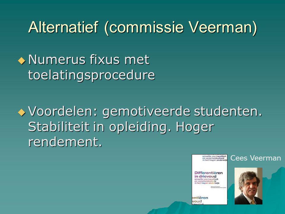 Alternatief (commissie Veerman)  Numerus fixus met toelatingsprocedure  Voordelen: gemotiveerde studenten.