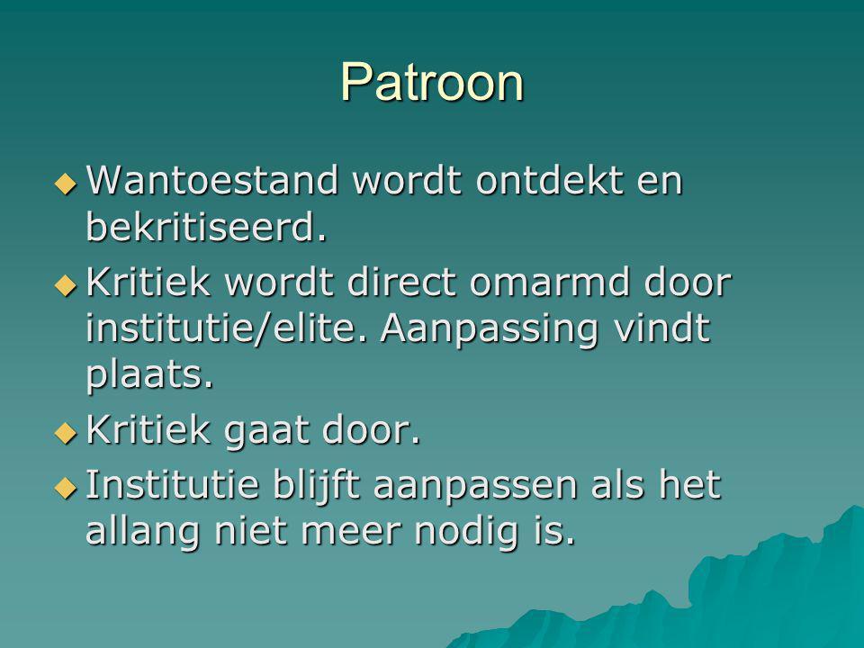 Patroon  Wantoestand wordt ontdekt en bekritiseerd.