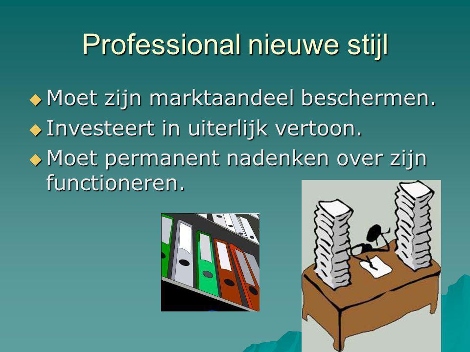 Professional nieuwe stijl  Moet zijn marktaandeel beschermen.