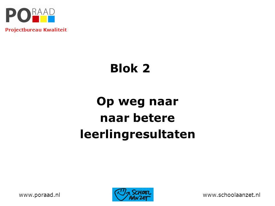 Blok 2 Op weg naar naar betere leerlingresultaten www.poraad.nl www.schoolaanzet.nl Projectbureau Kwaliteit