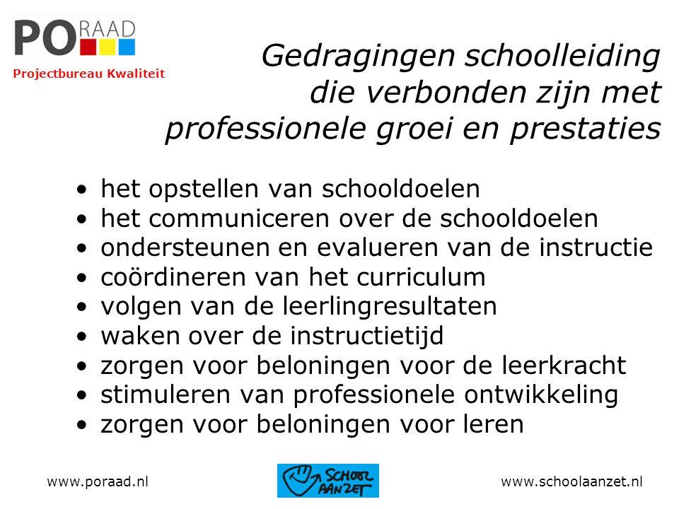 Gedragingen schoolleiding die verbonden zijn met professionele groei en prestaties het opstellen van schooldoelen het communiceren over de schooldoele