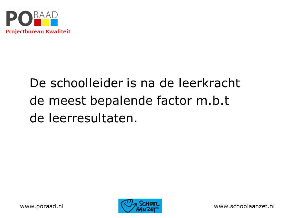 De schoolleider is na de leerkracht de meest bepalende factor m.b.t de leerresultaten. Projectbureau Kwaliteit www.poraad.nl www.schoolaanzet.nl