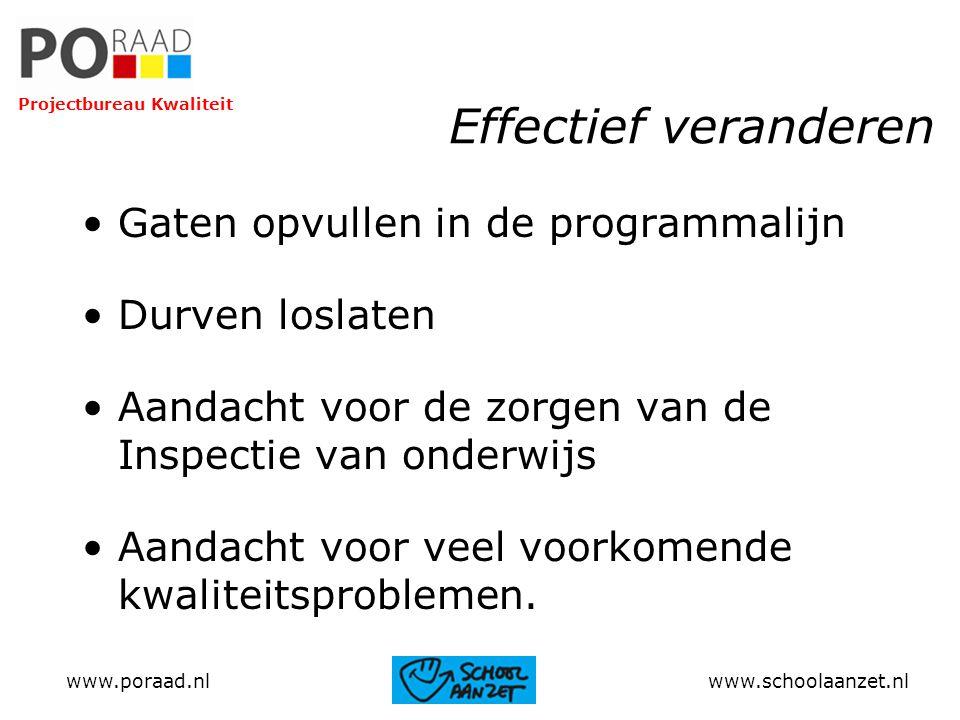Effectief veranderen Gaten opvullen in de programmalijn Durven loslaten Aandacht voor de zorgen van de Inspectie van onderwijs Aandacht voor veel voor