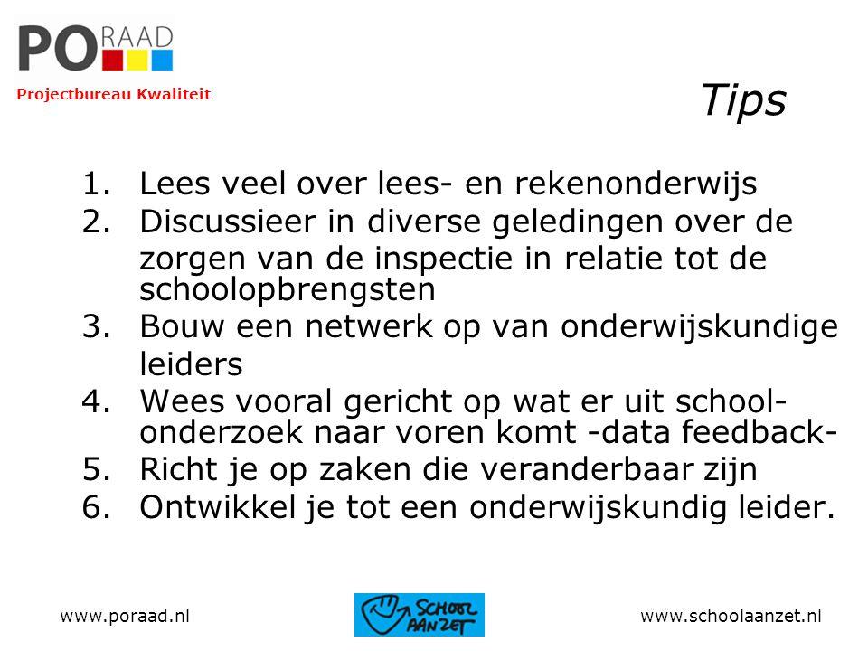 Tips 1.Lees veel over lees- en rekenonderwijs 2.Discussieer in diverse geledingen over de zorgen van de inspectie in relatie tot de schoolopbrengsten