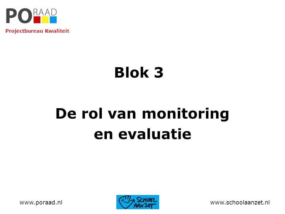 Blok 3 De rol van monitoring en evaluatie www.poraad.nl www.schoolaanzet.nl Projectbureau Kwaliteit