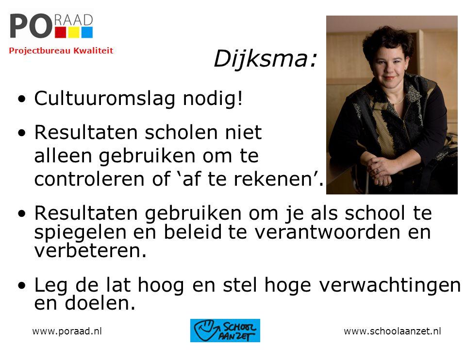 Dijksma: Cultuuromslag nodig! Resultaten scholen niet alleen gebruiken om te controleren of 'af te rekenen'. Resultaten gebruiken om je als school te