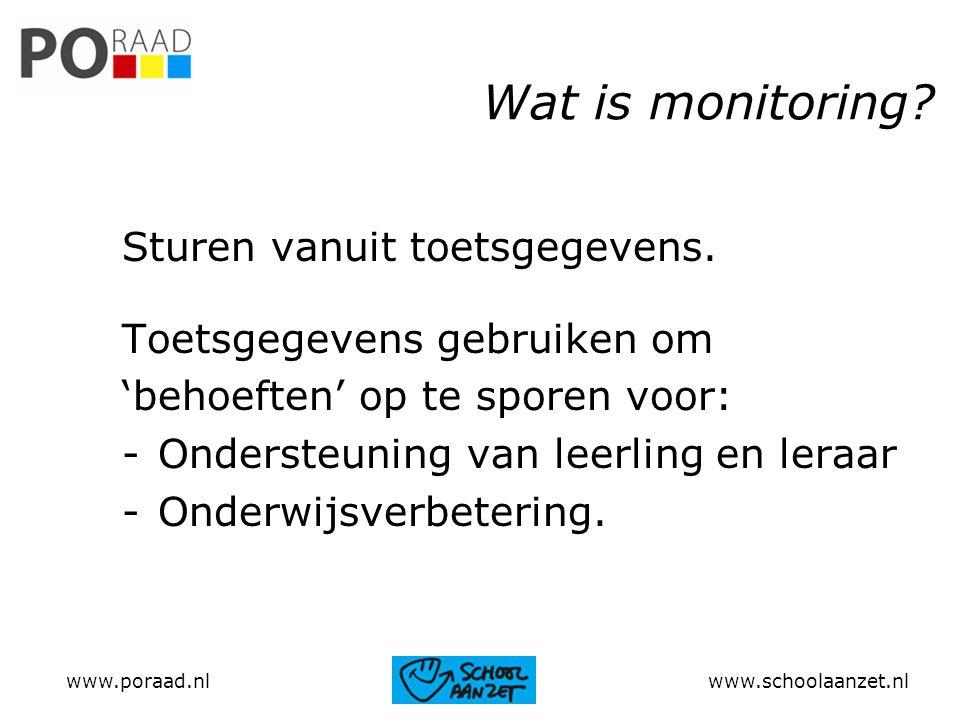 Wat is monitoring? Sturen vanuit toetsgegevens. Toetsgegevens gebruiken om 'behoeften' op te sporen voor: -Ondersteuning van leerling en leraar -Onder