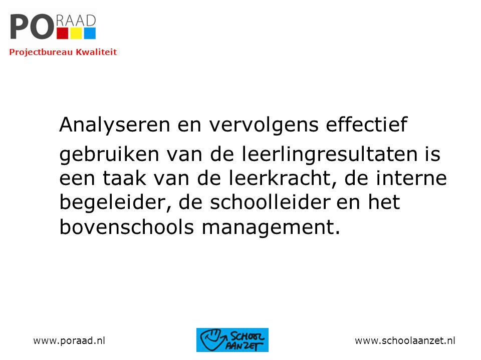 Analyseren en vervolgens effectief gebruiken van de leerlingresultaten is een taak van de leerkracht, de interne begeleider, de schoolleider en het bo